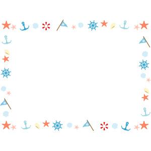 フリーイラスト, ベクター画像, AI, 背景, フレーム, 囲みフレーム, ヒトデ, 舵, 碇(いかり), 浮き輪, 三角旗