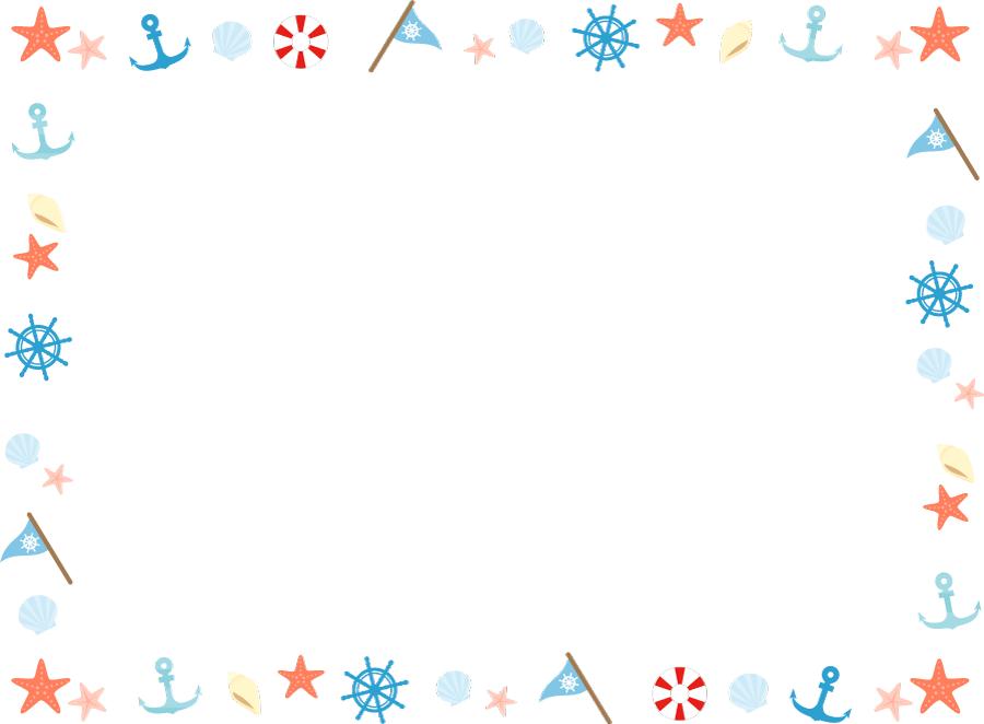 フリーイラスト 舵や碇などのマリン関連の囲みフレーム