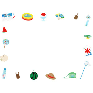 フリーイラスト, ベクター画像, AI, 背景, フレーム, 囲みフレーム, 夏, 西瓜(スイカ), ビニールプール, 夏休み, クワガタムシ, カブトムシ, 風鈴, 蚊取線香, 蚊遣豚, 氷旗, 虫取り網(虫捕り網), 虫かご, 麦わら帽子, ラムネ
