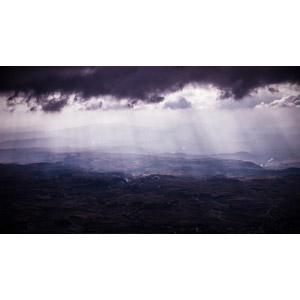 フリー写真, 風景, 雲, 暗雲, 薄明光線, 太陽光(日光), スペインの風景