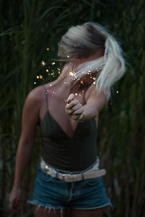 フリー写真 線香花火を持って顔をそむける女性