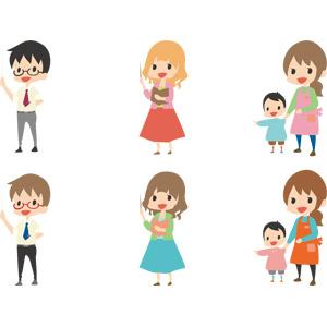 フリーイラスト, ベクター画像, AI, 人物, 男性, 女性, 仕事, 職業, 教師(先生), 指し棒, 教える, 保育士, 子供, 手をつなぐ, 幼稚園児, 幼稚園, 保育園, 指差す, 授業