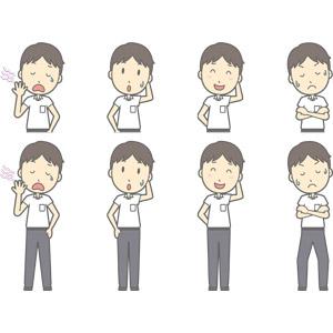 フリーイラスト, ベクター画像, AI, 人物, 少年, 少年(00259), 学生(生徒), 中学生, 学生服, 忘れ物, 気付く, 失敗, 欠伸(あくび), 照れる, 頭を掻く, 悩む, 考える, 腕を組む