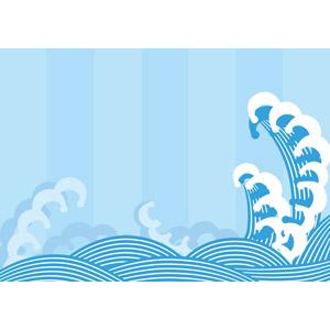 フリーイラスト, ベクター画像, AI, 背景, 海, 波, 青海波, 青色(ブルー)