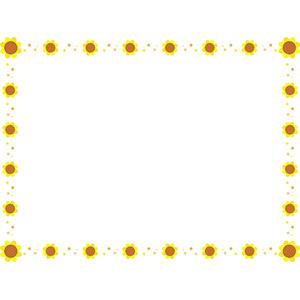フリーイラスト, ベクター画像, AI, 背景, フレーム, 囲みフレーム, 花, 向日葵(ヒマワリ), 黄色の花, 夏