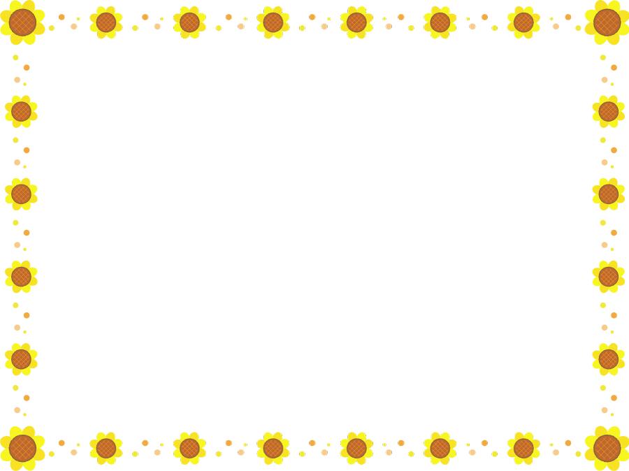 フリーイラスト ひまわりの花の飾り枠