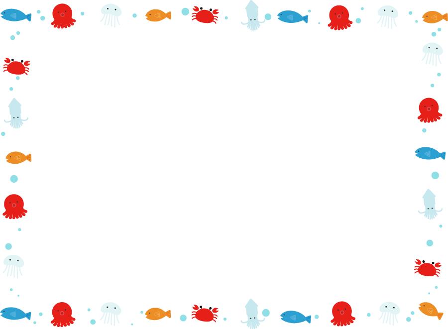 フリーイラスト 海の生き物たちの囲みフレーム