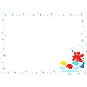 フリーイラスト, ベクター画像, AI, 背景, フレーム, 囲みフレーム, 食べ物(食料), 菓子, かき氷, 夏, 氷旗, 輝き