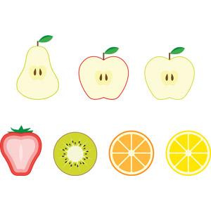 フリーイラスト, ベクター画像, AI, 食べ物(食料), 果物(フルーツ), キウイ, オレンジ, 洋なし(セイヨウナシ), レモン, リンゴ, 青リンゴ, オレンジ, みかん