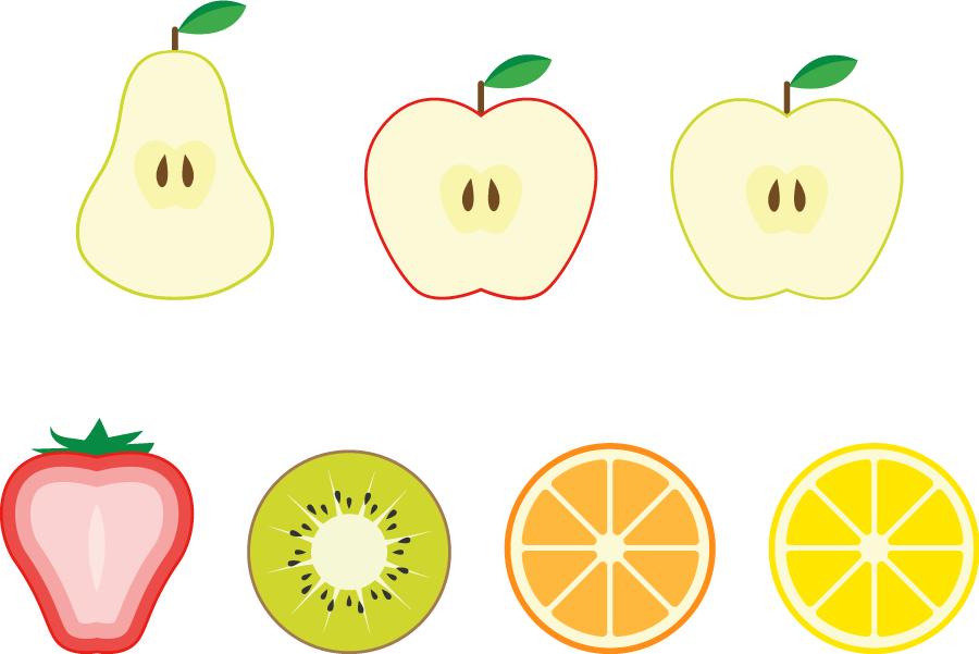 フリーイラスト 7種類のフルーツの断面のセット