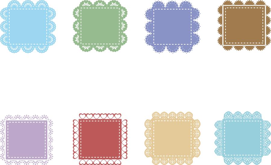 フリーイラスト 8種類の四角形とレース飾りのセット