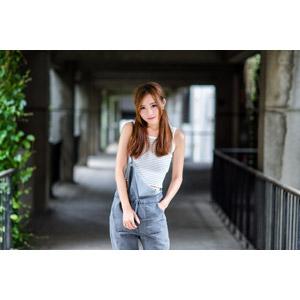 フリー写真, 人物, 女性, アジア人女性, 小潔(00183), 中国人, タンクトップ, サロペット, ポケットに手を入れる