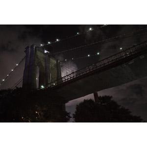 フリー写真, 風景, 建造物, ブルックリン橋, 橋, 夜, アメリカの風景, ニューヨーク