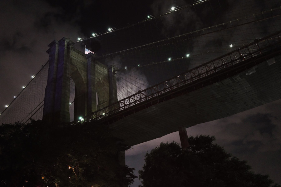 フリー写真 ブルックリン橋の夜景