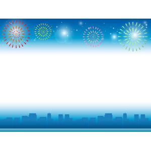フリーイラスト, ベクター画像, AI, 背景, フレーム, 上下フレーム, 夜, 打ち上げ花火, 都市, 街並み(町並み), 高層ビル, 街並み(シルエット), 花火
