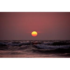 フリー写真, 風景, 自然, 夕暮れ(夕方), 夕焼け, 夕日, 日の入り, 海, 波