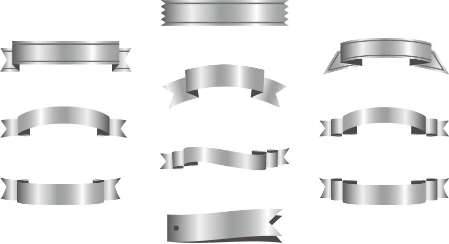 フリーイラスト 10種類のシルバーリボンのセット