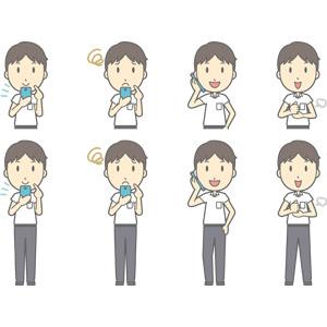 フリーイラスト, ベクター画像, AI, 人物, 少年, 少年(00259), 学生(生徒), 中学生, 学生服, スマートフォン(スマホ), 困る, 通話, 携帯電話, 納得する, 閃く
