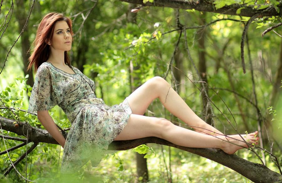 フリー写真 木の枝の上に座って見上げる外国人女性