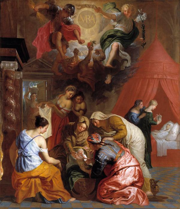 フリー絵画 エラスムス・クエリヌス(子)作「聖母マリアの誕生」