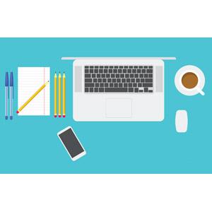 フリーイラスト, ベクター画像, AI, オフィスデスク, 飲み物(飲料), コーヒー(珈琲), 家電機器, パソコン(PC), ノートパソコン, 文房具, スマートフォン(スマホ), ボールペン, 鉛筆(えんぴつ), メモ用紙