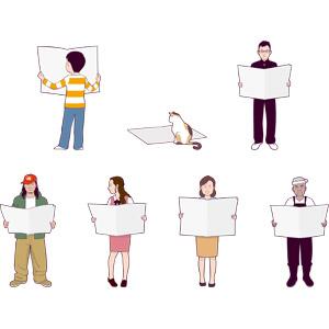 フリーイラスト, 新聞, 読む(読書), 人物, 男性, 女性, 中年女性, シニア男性, 男の子, 少年, 猫(ネコ), 学生(生徒), 学ラン, OL(オフィスレディ), 事務服, 漁師