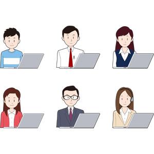 フリーイラスト, 人物, 少年, 少女, 男性, 女性, 仕事, 職業, ビジネス, ビジネスマン, OL(オフィスレディ), メンズスーツ, 事務服, コールセンター(テレオペ), ヘッドセット