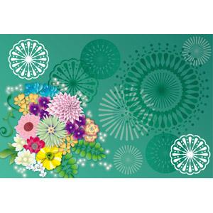フリーイラスト, ベクター画像, AI, 背景, 植物, 花, 打ち上げ花火, 緑色(グリーン)