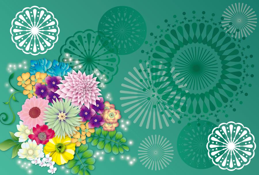 フリーイラスト 花と花火の背景