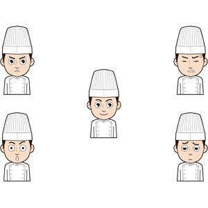 フリーイラスト, 人物, 男性, 仕事, 職業, 料理人(調理師), コック(シェフ), 驚く, 怒る, 疲れる