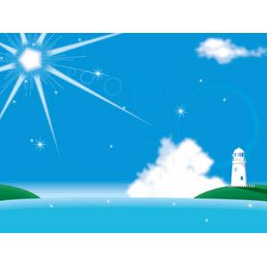 フリーイラスト, ベクター画像, AI, 背景, 風景, 夏, 海, 青空, 灯台(ライトハウス), 太陽光(日光), 雲