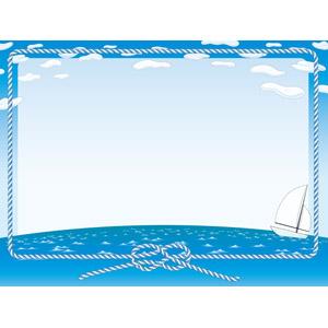 フリーイラスト, ベクター画像, AI, 背景, フレーム, 囲みフレーム, 青空, 海, ヨット, 雲, 縄(ロープ)