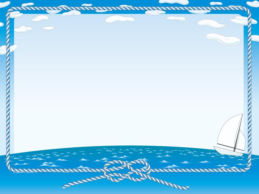 フリーイラスト 青空と海に浮かぶヨットとロープのフレーム
