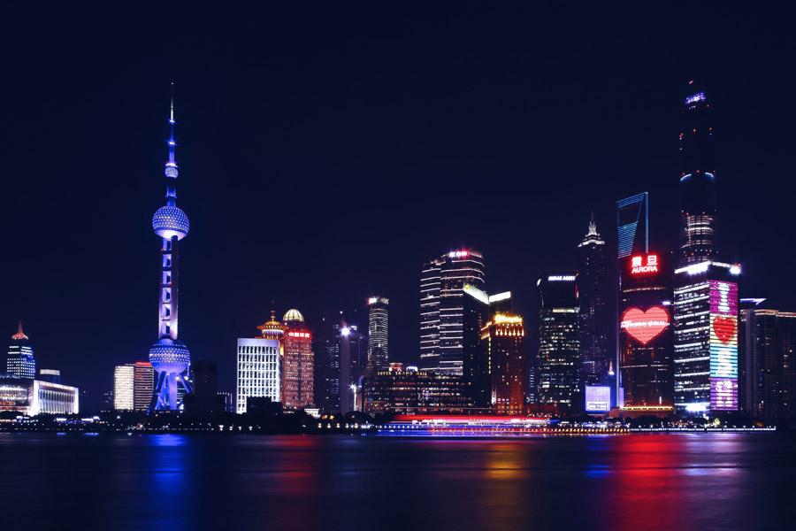 フリー写真 東方明珠電視塔と上海市の夜景