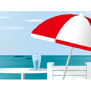 フリーイラスト, ベクター画像, AI, 風景, 夏, 海, ビーチパラソル, 飲み物(飲料)