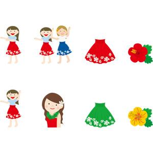 フリーイラスト, ベクター画像, AI, 人物, 女性, フラダンス, ハワイアン, 踊る(ダンス), パウスカート, 花, ハイビスカス, ハワイ州