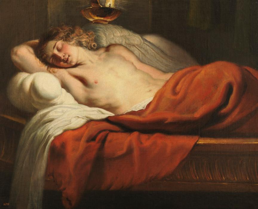 フリー絵画 エラスムス・クエリヌス(子)作「眠るアモール」
