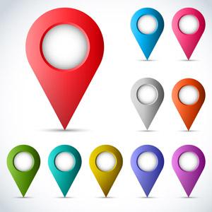フリーイラスト, ベクター画像, AI, 地図アイコン, マップピン(マーカー)