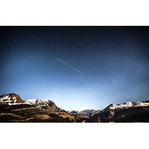 フリー写真, 風景, 自然, 山, 夜, 夜空, 星(スター)