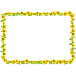 フリーイラスト, ベクター画像, AI, 背景, フレーム, 囲みフレーム, 植物, 花, 向日葵(ヒマワリ), 黄色の花, 夏