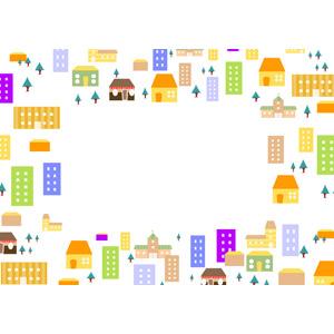 フリーイラスト, ベクター画像, AI, 背景, フレーム, 囲みフレーム, 建造物, 建築物, 街(町), 街並み(町並み), 樹木