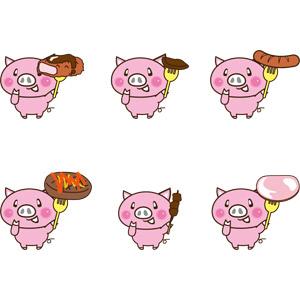 フリーイラスト, ベクター画像, EPS, 動物, 哺乳類, 豚(ブタ), 食べ物(食料), 料理, 肉料理, 豚肉料理, 豚カツ(とんかつ), ハンバーグ, 焼肉(焼き肉), ソーセージ(ウィンナー), ハム