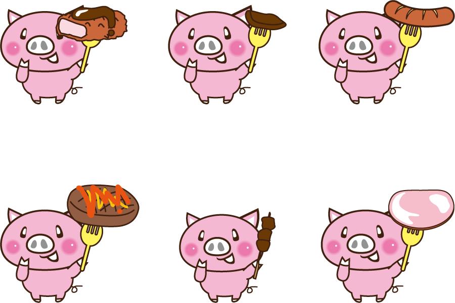 フリーイラスト 6種類のブタと豚肉料理のセット