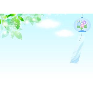 フリーイラスト, ベクター画像, AI, 風景, 空, 青空, 雲, 植物, 葉っぱ, 新緑, 風鈴, 夏