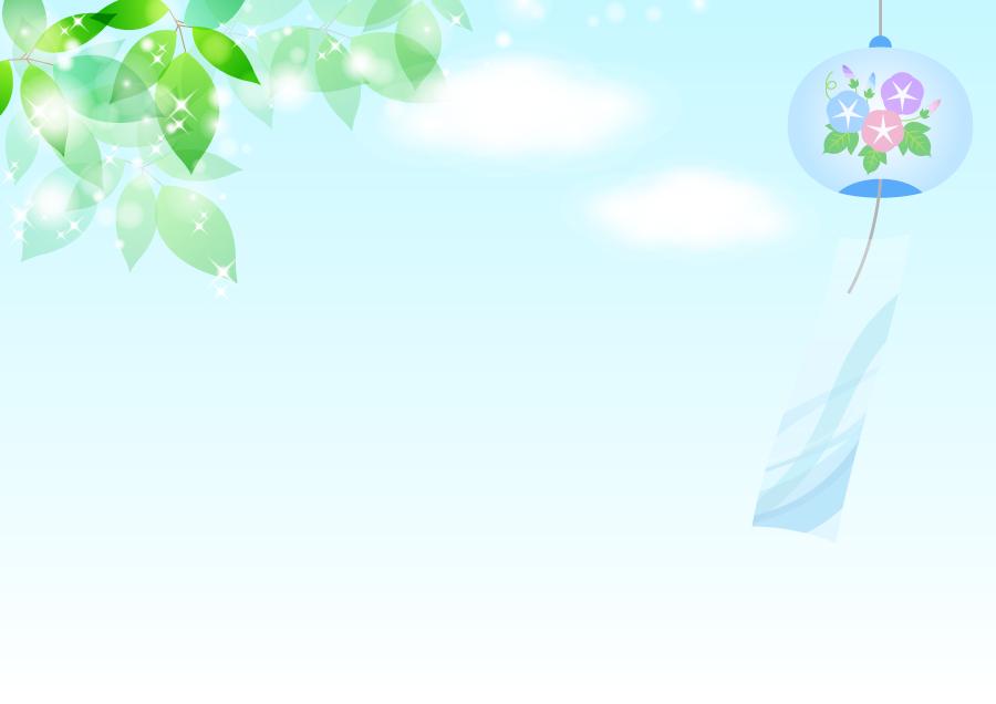 フリーイラスト 夏の空と新緑の葉と風鈴