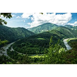 フリー写真, 風景, 山, 河川, 道路, 雲, スロバキアの風景