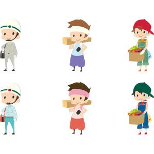 フリーイラスト, ベクター画像, AI, 人物, 男性, 仕事, 職業, 電気工事士, ヘルメット, 大工, 木材, 金槌(トンカチ), 農家(農民), 野菜, キャップ帽