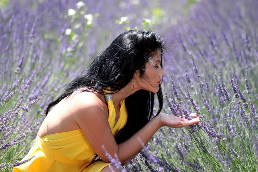 フリー写真 ラベンダーの花の香りを嗅ぐ外国人女性