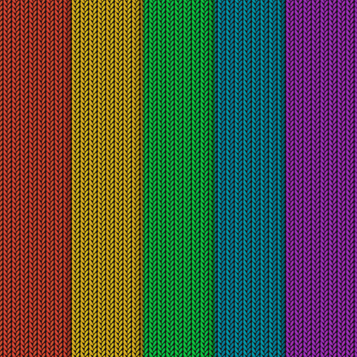 フリーイラスト 5色のニットの編み目の背景