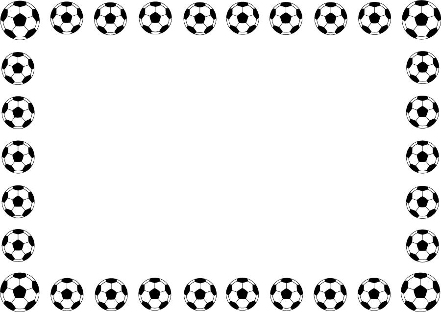 フリーイラスト サッカーボールの囲みフレーム